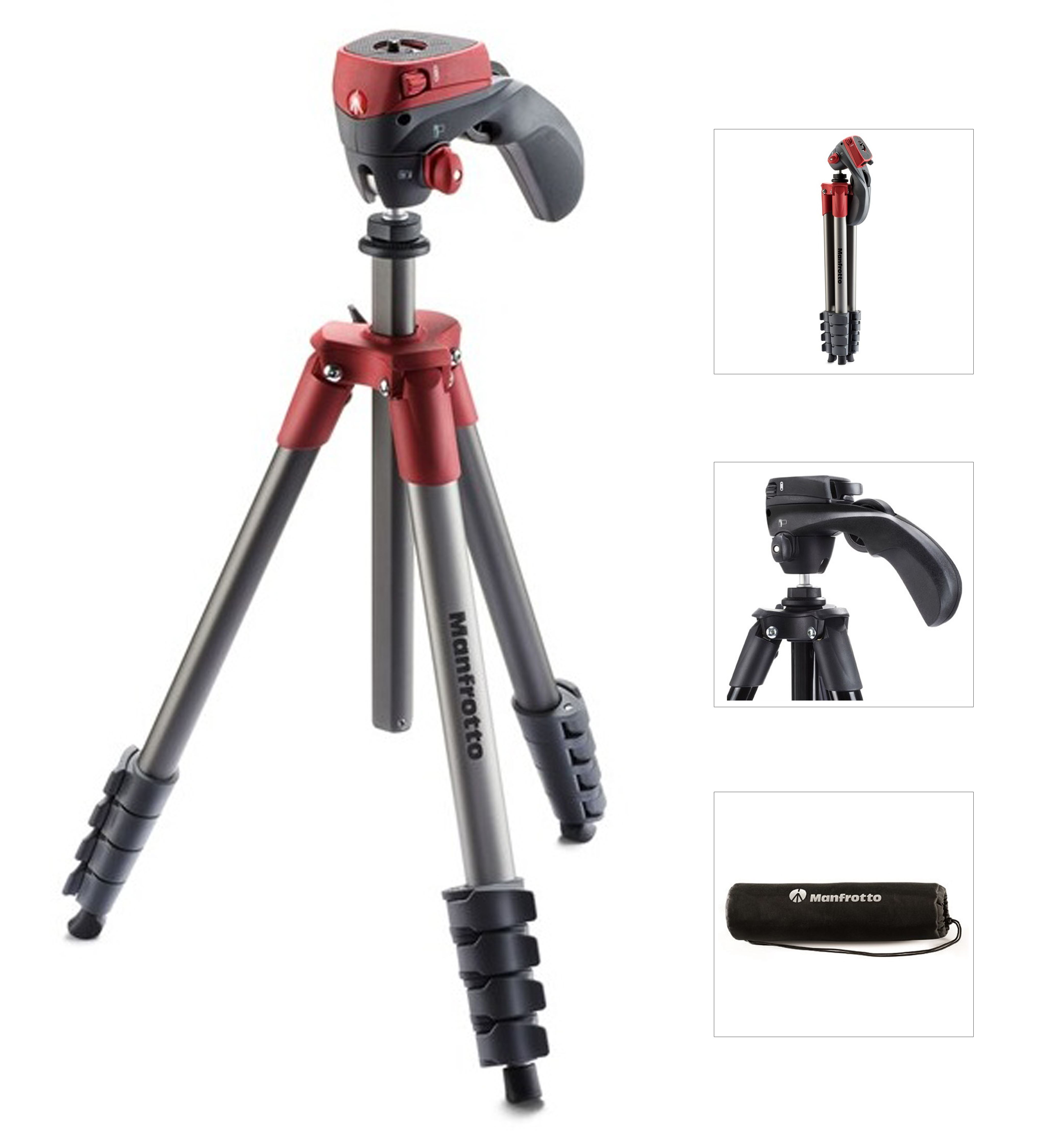 Manfrotto MKCOMPACTACN-RD, stativ COMPACT ACTION, červeno-antracitový